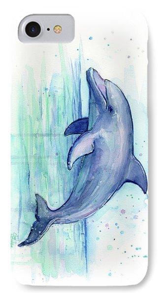 Dolphin Watercolor IPhone 7 Case by Olga Shvartsur