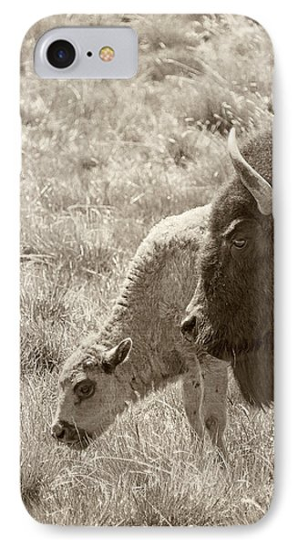 IPhone Case featuring the photograph Father And Baby Buffalo by Rebecca Margraf