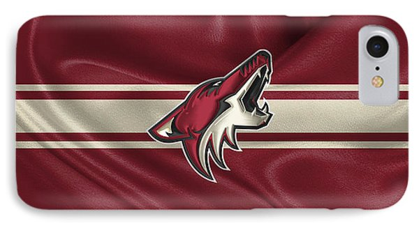 Arizona Coyotes - 3 D Badge Over Silk Flag IPhone Case