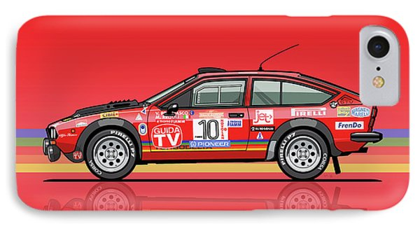 Alfetta Gtv Turbodelta Jolly Club Fia Group 4 1980 Sanremo Rallye IPhone Case by Monkey Crisis On Mars