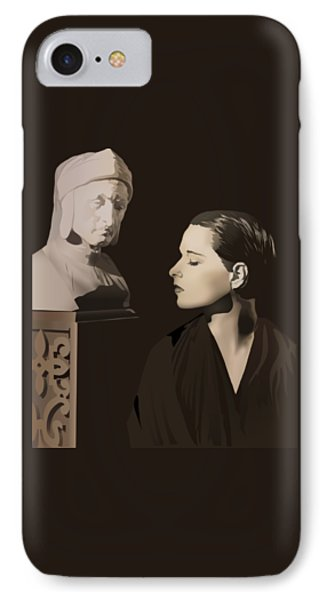 Louise Brooks With Bust Of Dante Alighieri  Phone Case by Vintage Brooks