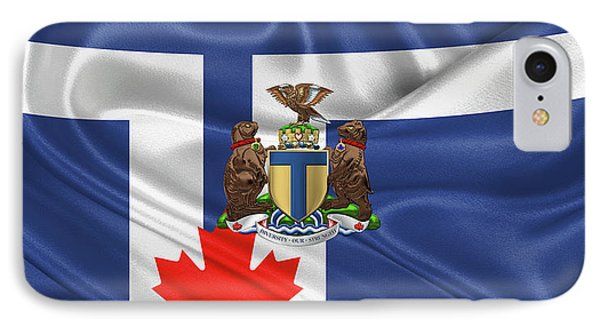 Toronto - Coat Of Arms Over City Of Toronto Flag  Phone Case by Serge Averbukh