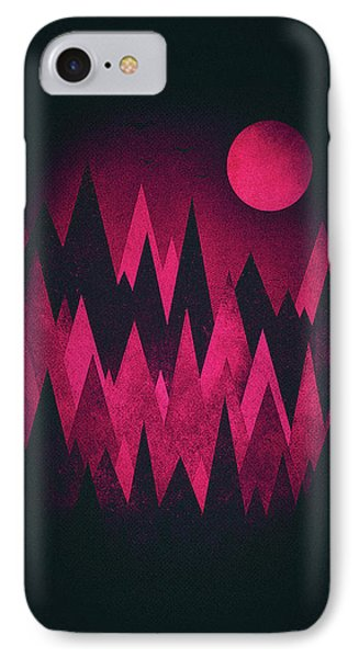 Dark Triangles - Peak Woods Abstract Grunge Mountains Design In Red Black IPhone Case by Philipp Rietz