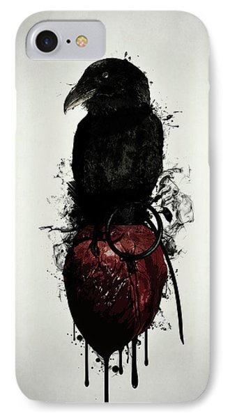 Crow iPhone 7 Case - Raven And Heart Grenade by Nicklas Gustafsson