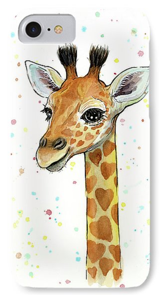 Baby Giraffe Watercolor With Heart Shaped Spots IPhone 7 Case by Olga Shvartsur