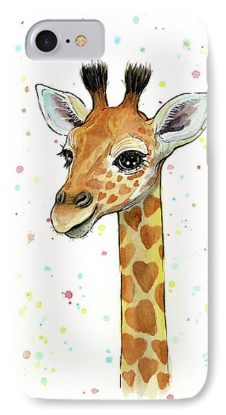 Baby Giraffe Watercolor With Heart Shaped Spots IPhone Case by Olga Shvartsur