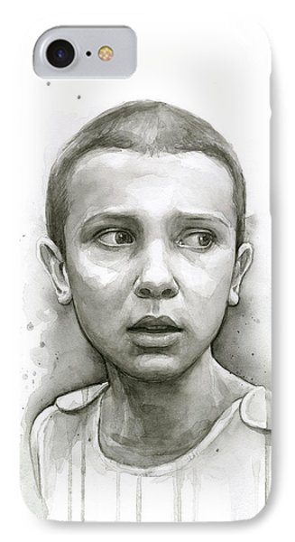 Stranger Things Eleven Upside Down Art Portrait IPhone Case by Olga Shvartsur