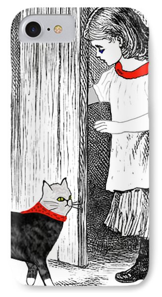 IPhone Case featuring the painting Vintage Girl Lets In Her Gray Cat by Marian Cates