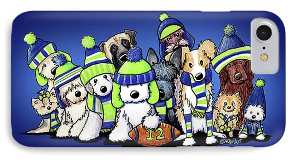 12 Dogs On Blue Phone Case by Kim Niles