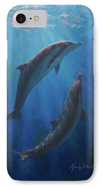 IPhone Case featuring the painting Dolphin Dance - Underwater Whales by Karen Whitworth