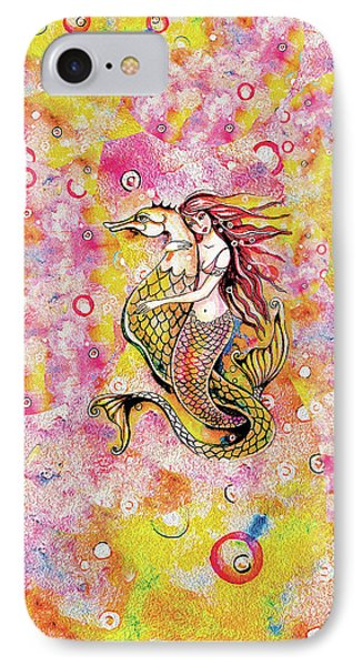 IPhone 7 Case featuring the painting Black Sea Mermaid by Eva Campbell