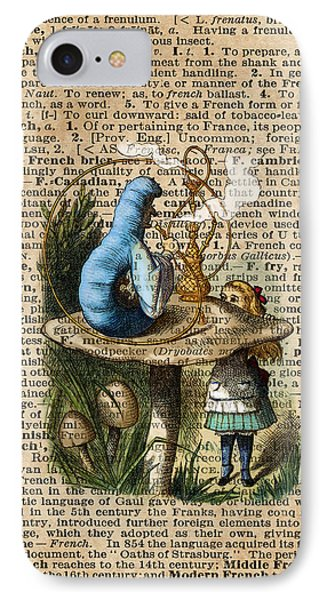 Alice,mushroom And Jin,vintage Dictionary Art IPhone Case by Jacob Kuch