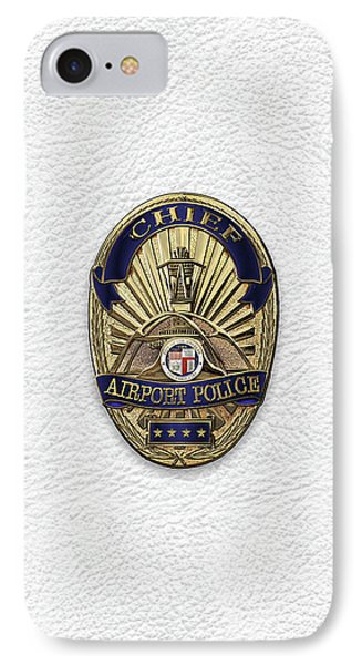 Los Angeles Airport Police Division - L A X P D  Chief Badge Over White Leather IPhone Case