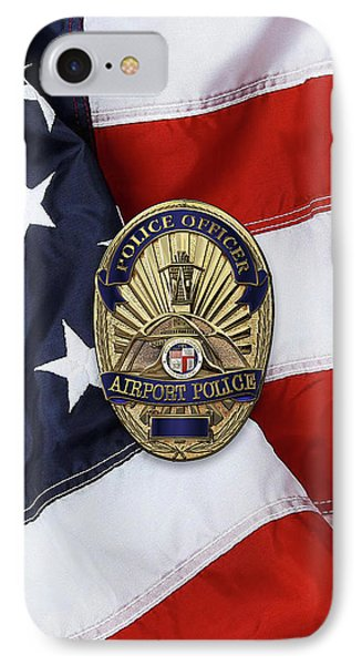Los Angeles Airport Police Division - L A X P D  Police Officer Badge Over American Flag IPhone Case