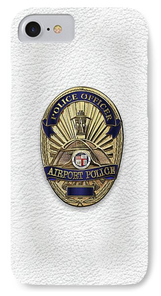 Los Angeles Airport Police Division - L A X P D  Police Officer Badge Over White Leather IPhone Case by Serge Averbukh