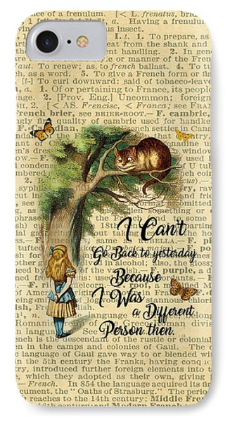 Alice In Wonderland Quote,cheshire Cat,vintage Dictionary Art IPhone Case by Jacob Kuch