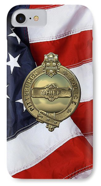 Pittsburgh Bureau Of Police -  P B P  Chief Badge Over American Flag IPhone Case