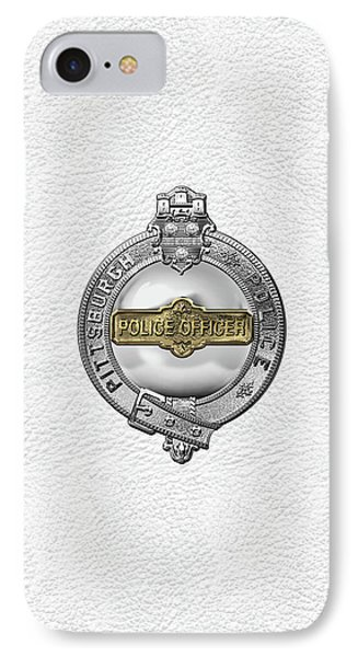 Pittsburgh Bureau Of Police -  P B P  Police Officer Badge Over White Leather IPhone Case by Serge Averbukh