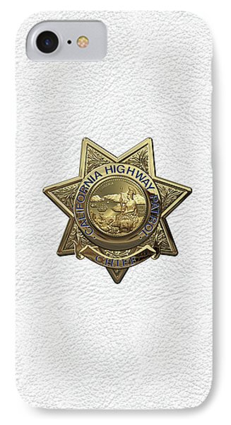 California Highway Patrol  -  C H P  Chief Badge Over White Leather IPhone Case