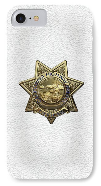California Highway Patrol  -  C H P  Police Officer Badge Over White Leather IPhone Case by Serge Averbukh