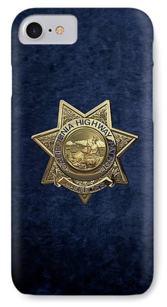 California Highway Patrol  -  C H P  Police Officer Badge Over Blue Velvet IPhone Case by Serge Averbukh