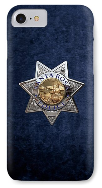 Santa Rosa Police Department Badge Over Blue Velvet IPhone Case by Serge Averbukh