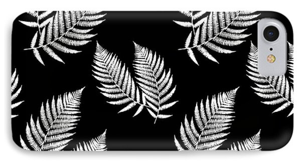 IPhone 7 Case featuring the mixed media Fern Pattern Black And White by Christina Rollo