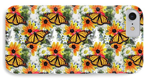 IPhone 7 Case featuring the mixed media Butterfly Pattern by Christina Rollo