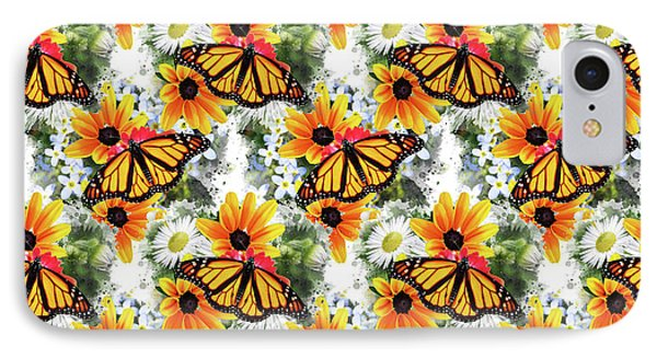 IPhone Case featuring the mixed media Butterfly Pattern by Christina Rollo