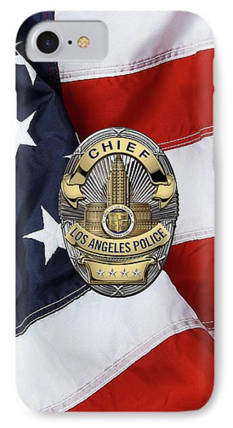 Los Angeles Police Department  -  L A P D  Chief Badge Over American Flag IPhone Case by Serge Averbukh