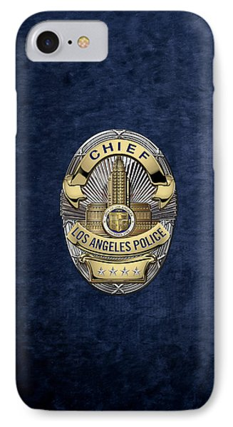 Los Angeles Police Department  -  L A P D  Chief Badge Over Blue Velvet IPhone Case by Serge Averbukh