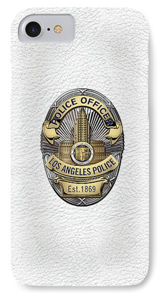Los Angeles Police Department  -  L A P D  Police Officer Badge Over White Leather IPhone Case by Serge Averbukh