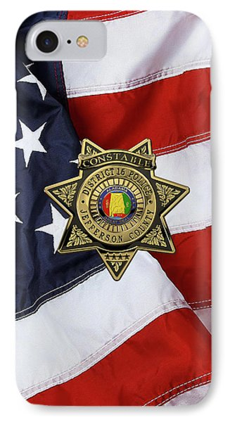 Jefferson County Sheriff's Department - Constable Badge Over American Flag IPhone Case