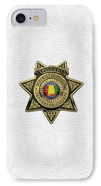 Jefferson County Sheriff's Department - Constable Badge Over White Leather IPhone Case by Serge Averbukh