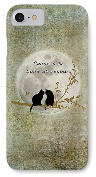 IPhone Case featuring the digital art T'aime A La Lune Et Retour by Linda Lees