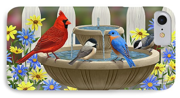 The Colors Of Spring - Bird Fountain In Flower Garden IPhone 7 Case