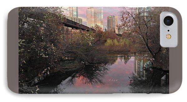 Austin Hike And Bike Trail - Train Trestle 1 Sunset Triptych Right IPhone Case by Felipe Adan Lerma