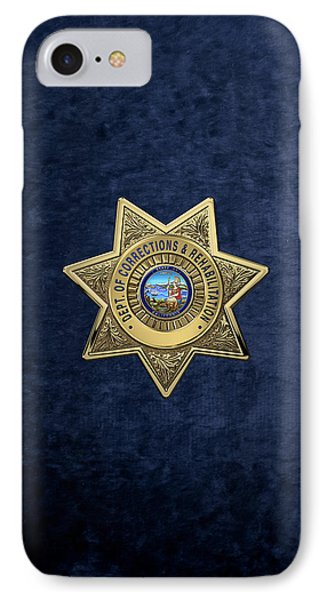 California Department Of Corrections And Rehabilitation - C D C R  Officer Badge Over Blue Velvet IPhone Case