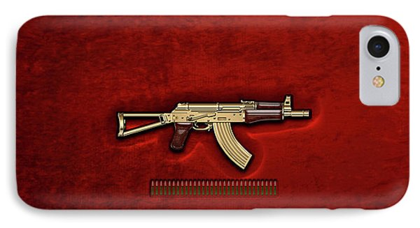 Gold A K S-74 U Assault Rifle With 5.45x39 Rounds Over Red Velvet   Phone Case by Serge Averbukh