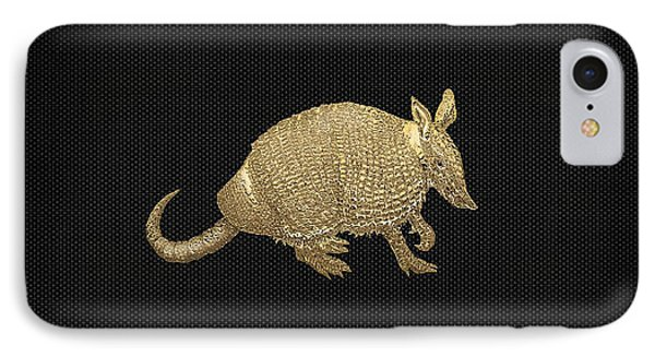 Gold Armadillo On Black Canvas IPhone Case by Serge Averbukh