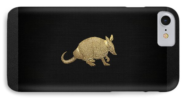 Gold Armadillo On Black Canvas Phone Case by Serge Averbukh