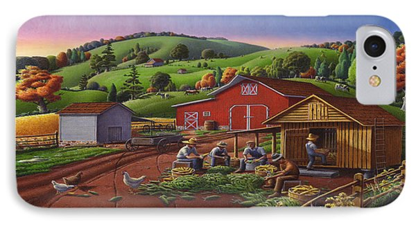 Folk Art Americana - Farmers Shucking Harvesting Corn Farm Landscape - Autumn Rural Country Harvest  IPhone Case