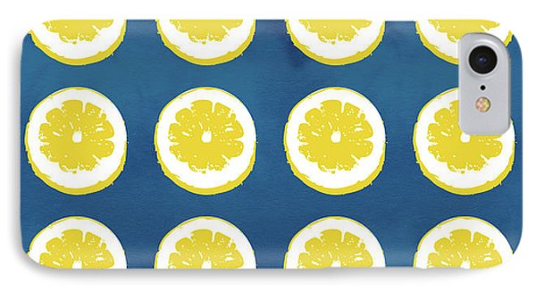 Sliced Lemons On Blue- Art By Linda Woods IPhone Case by Linda Woods