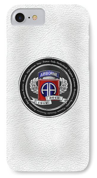 82nd Airborne Division 100th Anniversary Medallion Over White Leather Phone Case by Serge Averbukh