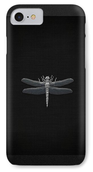 IPhone Case featuring the digital art Silver Dragonfly On Black Canvas by Serge Averbukh