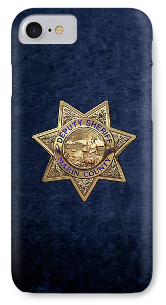 IPhone Case featuring the digital art Marin County Sheriff's Department - Deputy Sheriff's Badge Over Blue Velvet by Serge Averbukh