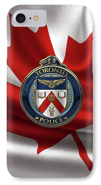 IPhone Case featuring the digital art Toronto Police Service  -  T P S  Emblem Over Canadian Flag by Serge Averbukh