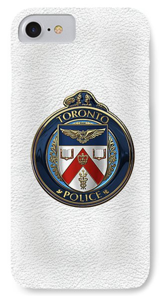 IPhone Case featuring the digital art Toronto Police Service  -  T P S  Emblem Over White Leather by Serge Averbukh