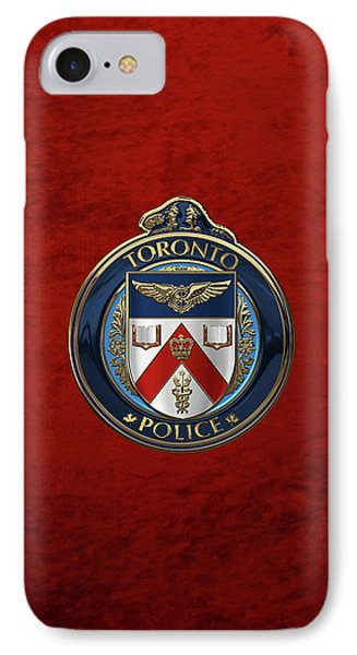 IPhone Case featuring the digital art Toronto Police Service  -  T P S  Emblem Over Red Velvet by Serge Averbukh