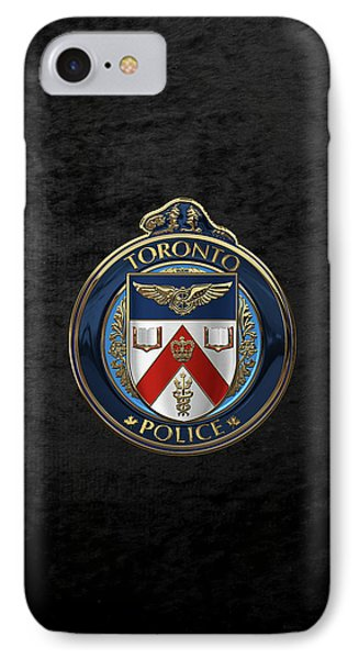 IPhone Case featuring the digital art Toronto Police Service  -  T P S  Emblem Over Black Velvet by Serge Averbukh